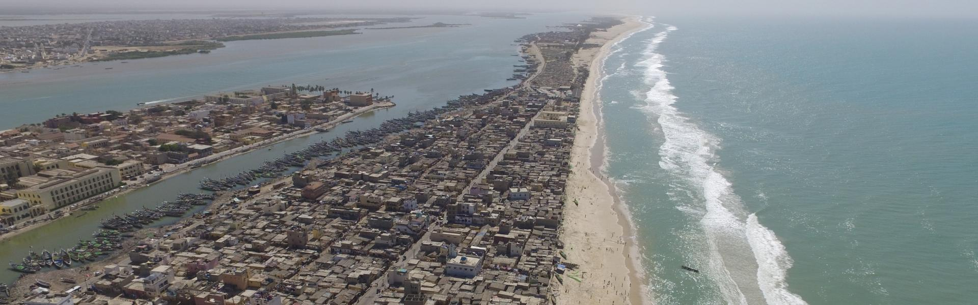 Aerial view of Saint-Louis, Senegal
