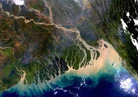The Ganges-Brahmaputra-Meghna delta as seen from the European Space Agency (ESA) Envisat satellite.