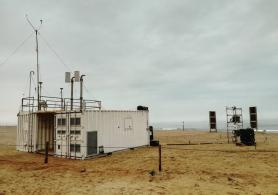 The Pegasus mobile station, on the Namibian coast.
