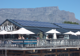 Solar panels on a restaurant roof in Cape Town.