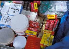 Drugs on a market in Africa.